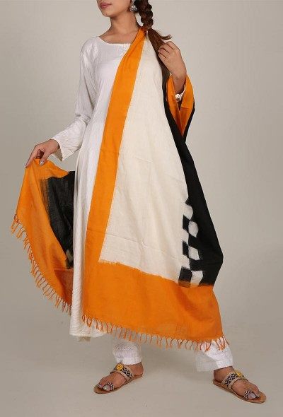 mustard-and-white-ikat-dupatta-with-tassels