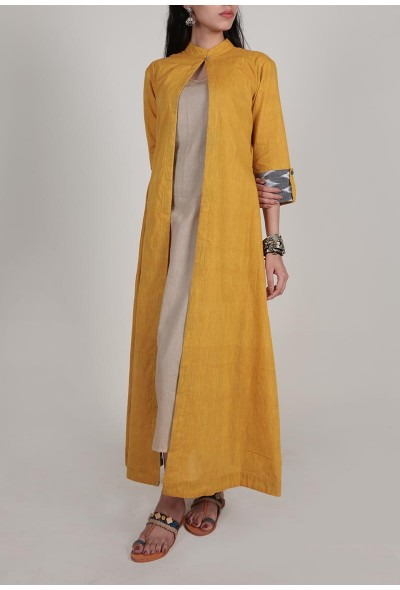 mustard-cape-dress-with-three-fold-ikat-sleeves