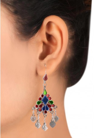 Red-Magenta-Green Silver Plated Afghan Danglers with Metal Trinkets