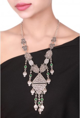 Long Silver Kazakhi Necklace With Tassels