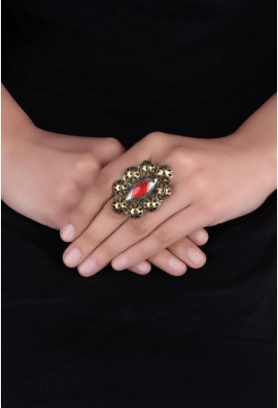Red & golden Stone Afghani Ring