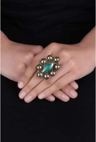 Golden & green Stone Afghani Ring