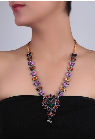 Multi-color Stone Afghani Necklace