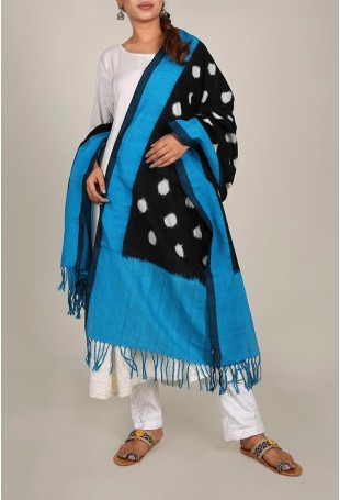 Turquoise And Black Ikat Dupatta With Tassels
