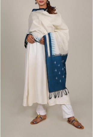Cobalt Blue And White Ikat Dupatta With Tassels