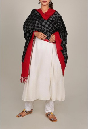 Black And Red Checkered Ikat Dupatta With Tassels