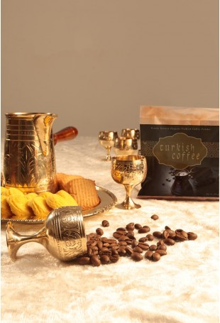Turkish Coffee Set with 16cc pot, oval tray, 6 cups and Organic Turkish coffee