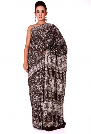 Brown white Baghru hand-block printed mulmul cotton saree