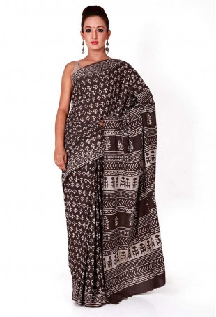 Brown Off white Baghru hand-block printed mulmul cotton saree