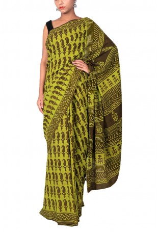 Handloom Cotton Saree in Earthy Green and Brown