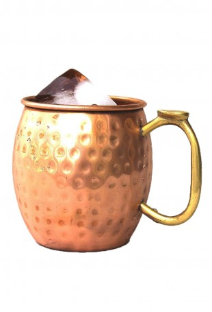 Copper Hammered Mug Brass Thumb Handle