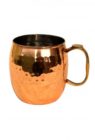 Hammered Copper Mug Brass Thumb Handle With Nickel Lined