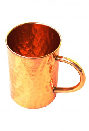 Hammered Copper straight Mug C Copper Handle
