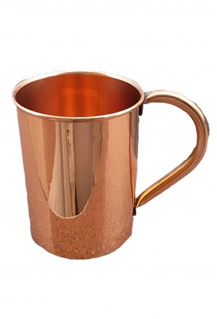 Smooth Copper straight Mug Attached Copper Handle