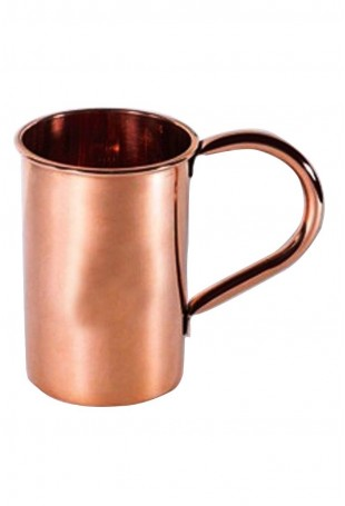 Smooth Copper straight Mug Attached Copper Handle With Logo
