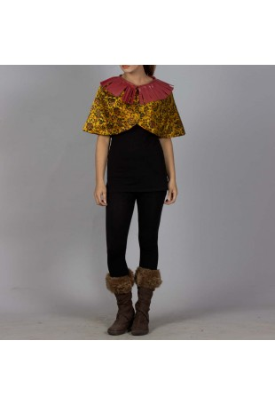 Yellow and maroon Floral Ajrakh cape with laser cut belt