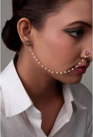 Scarlet and Gold Tora Nose Pin With Pearl String
