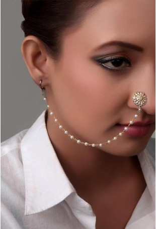 Gold and Silver Aria Nose Pin With Pearl String