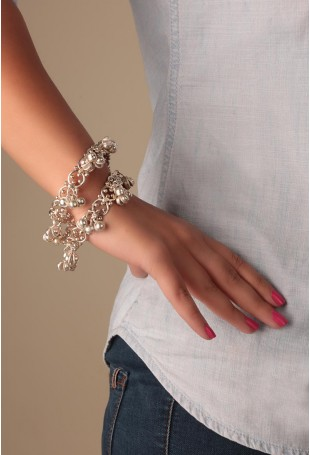 Chava Silver Bangles Set With Ghungroo