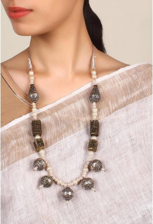 Adriana Silver And Pearl Necklace