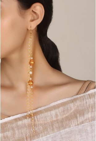 Anna Golden Tassel And Bead Earrings