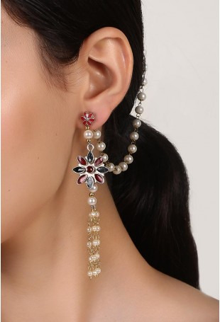 Two Layered Floral Earrings With Pearl String