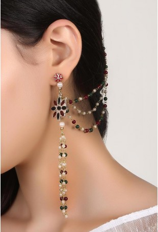 Two Layered Floral Danglers With Multicolour Pearl String