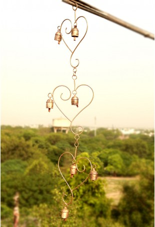 Embracing hearts copper chime