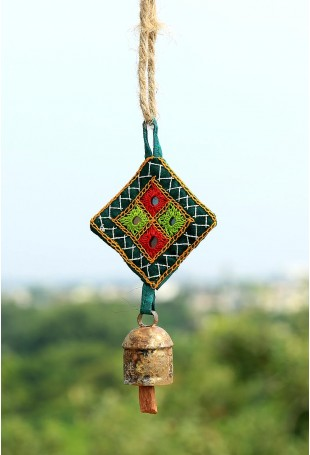 Small cylinder copper bell with green Kantha work hanging
