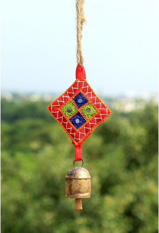 Small cylinder copper bell with red Kantha work hanging