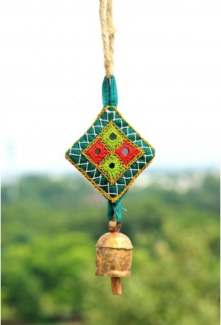 Small cylinder copper bell with Kantha Work hanging