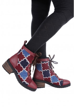 Blue & maroon Ajrakh ankle boot
