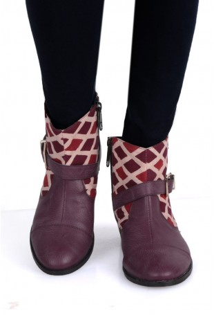 Brown, red & white Ajarakh boots