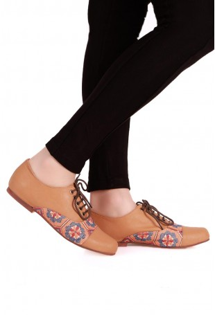 Beige & Multicolor Moroccan Embroidered Oxford Shoes