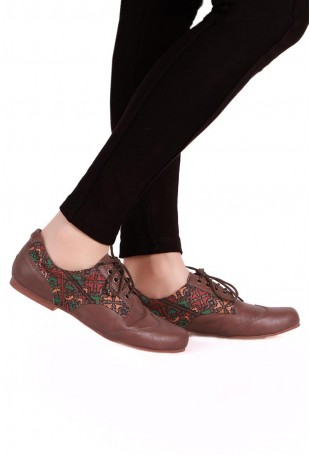 Brown & Multicolor Moroccan Embroidered Oxford Shoes