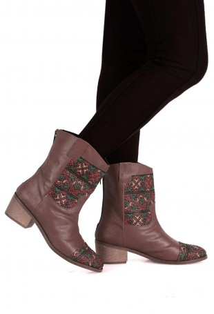 Brown & Multicolor Moroccan Embroidered Calf Boots with 2 Inch Heel
