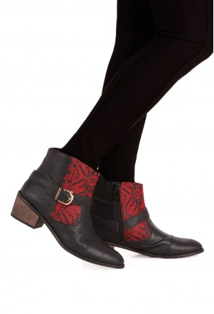 Maroon & Black Moroccan Embroidered Ankle Boots with 2 Inch Heel