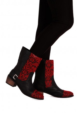 Black & Maroon Moroccan Embroidered Calf Boots with 2 Inch Heel