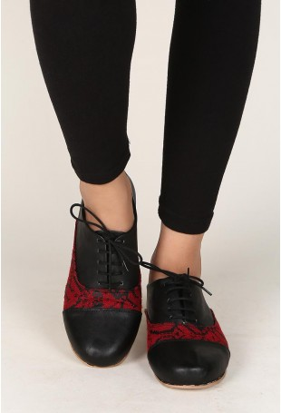 Black & Red Moroccan Embroidered Oxford Shoes