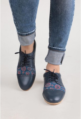 Blue And Red Ajrakh Oxford Shoes