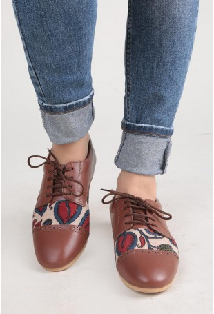 Brown And Red Kalamkari Oxford Shoes