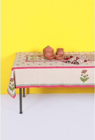 Set of Tablecloth, Runner and Six Table Mats in Dull Grey and Pink-Green Motifs
