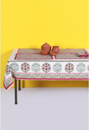 Set of Tablecloth, Runner and Six Table Mats with Red-Green motifs