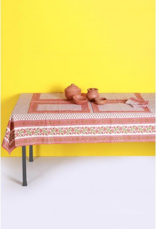 White-Orange Set of Tablecloth, Runner and Six Table Mats