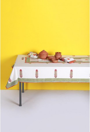 Set of Tablecloth, Runner and Six Table Mats with Floral motifs