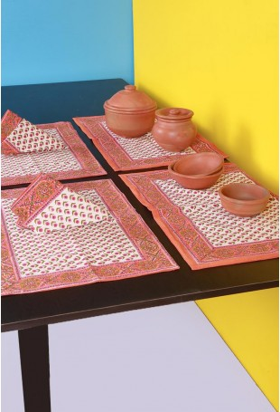 White-Pink Canvas Set of Six Table Mats