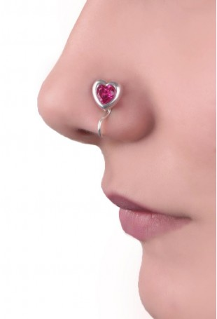 Pink heart shaped hand-crafted Silver nosepin