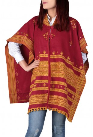 Red & yellow mirror embroidered white pure wool cape with pocket