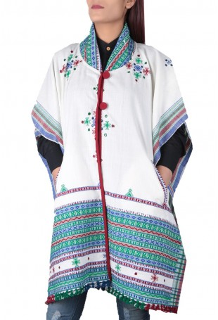 White & multi-color mirror embroidered white pure wool cape with pocket