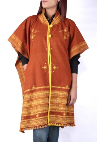 Light brown & yellow mirror embroidered white pure wool cape with pocket
